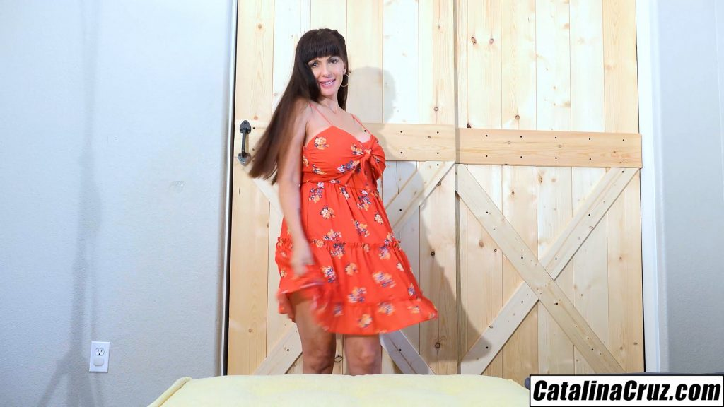 Catalina Cruz sexy sun dress comes off quick big boobs poured out